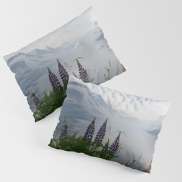 Lupine flowers with mountains landscape Pillow Sham