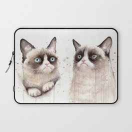 Grumpy Watercolor Cats Laptop Sleeve