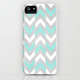 Teal & White Herringbone Chevron on Silver Wood iPhone Case