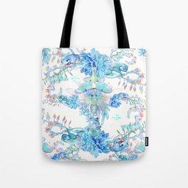 Aqua Chalcedony Luna Moth Succulent Floral Tote Bag
