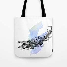 Florida Alligator on Purple Blue Green Watercolor Tote Bag