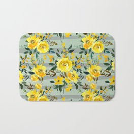 Modern hand painted yellow green watercolor stripes floral Bath Mat