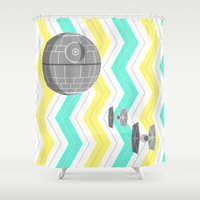 death star Shower Curtains featuring Star Wars Death Star Chevrons by foreverwars