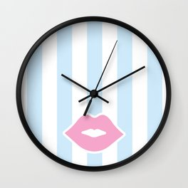Pastel Lips with Stripes Wall Clock