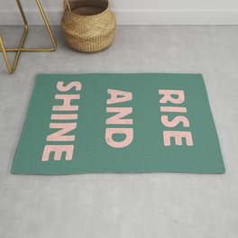 Rise and Shine motivational slogan in pink and green vintage letterpress Rug