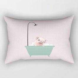Baby Pink Pig Enjoying Bubble Bath Rectangular Pillow