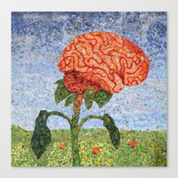 biology Canvas Prints featuring Biology: Brain by Textility