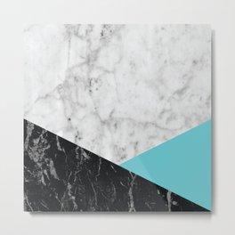 White Marble Black Granite & Teal #871 Metal Print