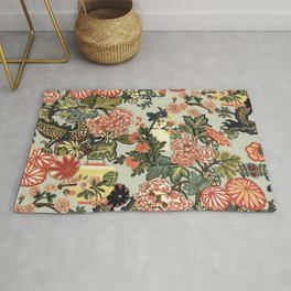 Chinese Dragon Vintage Floral Pattern Rug