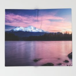 Sublime a sunrise at Lake Siskiyou with Mt. Shasta Throw Blanket