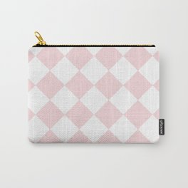 Large Diamonds - White and Light Pink Carry-All Pouch