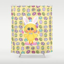 Easter Chick with Bunny Ears Shower Curtain