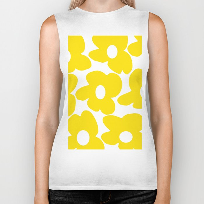 Large Yellow Retro Flowers on White Background #decor #society6 #buyart Biker Tank
