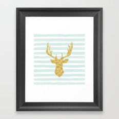 Gold Deer on Mint Watercolor Stripes Framed Art Print