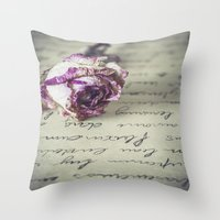 letter Throw Pillows featuring Love letter by Maria Heyens