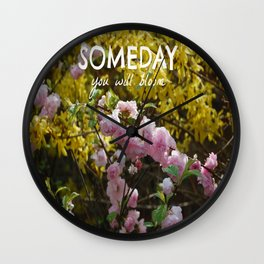 Bloom with Text Wall Clock