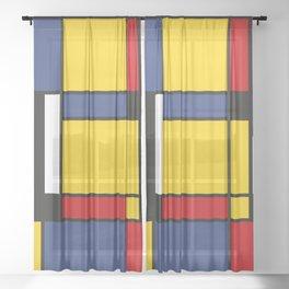 Downtown, Tribute to Mondrian Sheer Curtain