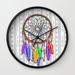Dreamcatcher Rainbow Feathers Wall Clock