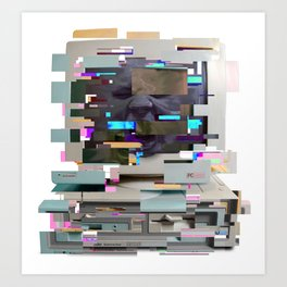 Screaming Glitch Art Print