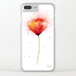 Red Poppy Flower Watercolor Abstract Poppies Floral Clear iPhone Case