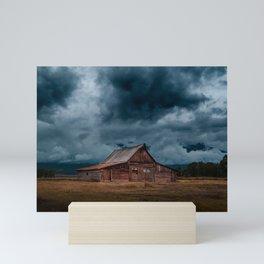 Log Cabin Barn Rural Landscape Mini Art Print