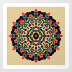 Flower and Fruit Collage Mandala Art Print