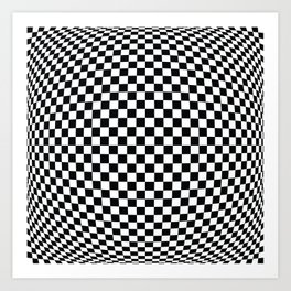 op art - black and white checks bulge Art Print