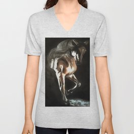 Horse In Flaxen Chestnut Brown On Black Unisex V-Neck