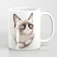 grumpy Mugs featuring Grumpy Watercolor Cat by Olechka