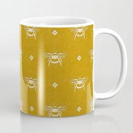 Bee Stamped Motif on Mustard Gold Coffee Mug