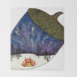 Camping under Aurora Borealis in a Nutshell Throw Blanket