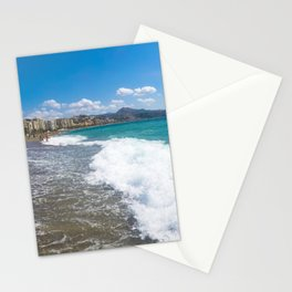 Malaga beach, sea in foreground Stationery Cards