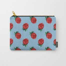 Beautiful Protea Pattern - White Polka Dots on Blue - Australian Native Flowers Carry-All Pouch