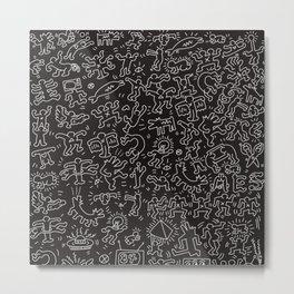 Doodles Homage to Keith Haring Black Metal Print