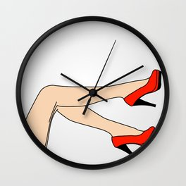 Woman wearing beautiful red shoes or stilettoes Wall Clock