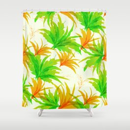 Spring tropical leaves pattern Shower Curtain