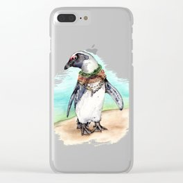 South African Penguin on the Beach Clear iPhone Case