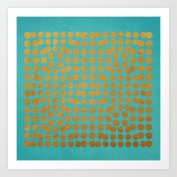 gold dots Art Prints featuring Gold Dots on Turquoise by Sandra Arduini