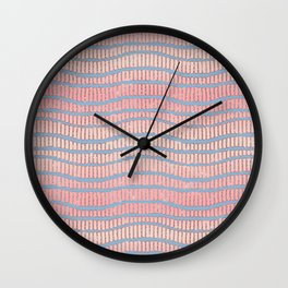 Artsy Blue Pink Glitter Gradient Geometric Stripes Wall Clock