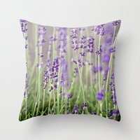 lavender Throw Pillows featuring Lavender by A Wandering Soul