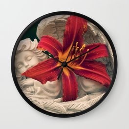 Angel and Daylily Wall Clock