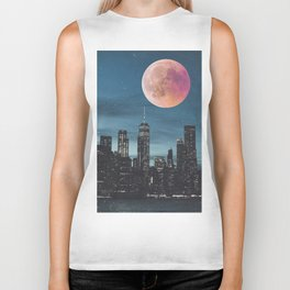New York City Blood Moon Skyline Biker Tank