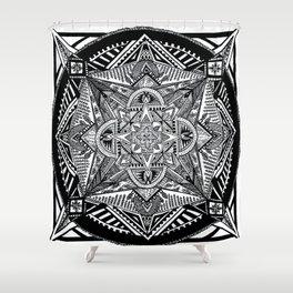 Geometric Square Black & White Mandala Shower Curtain
