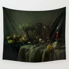 Still life with metal dishes, fruits and fresh flowers Wall Tapestry
