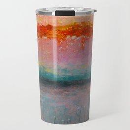 Fire Sunset vibrant mixed media abstract seascape Travel Mug