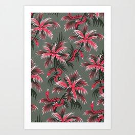 Snake Palms - Light Vintage Coral Art Print