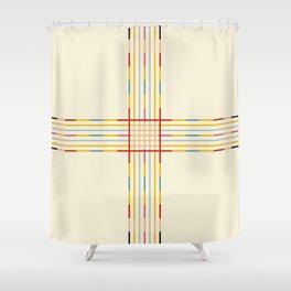 Fine Line Colorful Retro Cross Shower Curtain