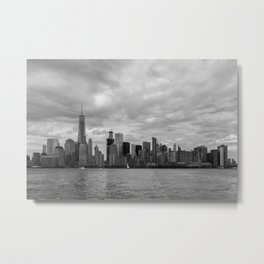 Lower Manhattan in Black and White Metal Print