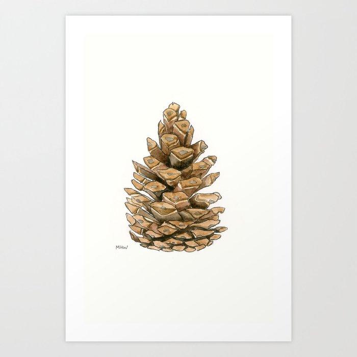 Watercolor pinecone