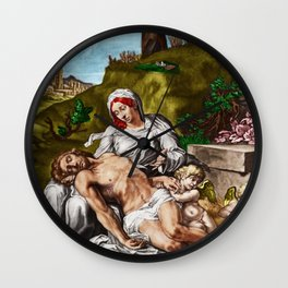"""""""And so it is"""" - The Death of Jesus Landscape Painting by Jeanpaul Ferro Wall Clock"""